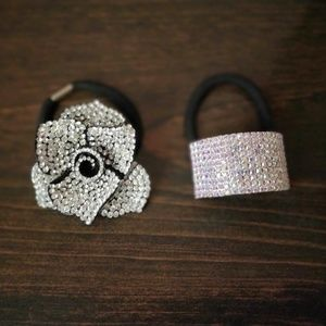 sparkly rose 2 hairties